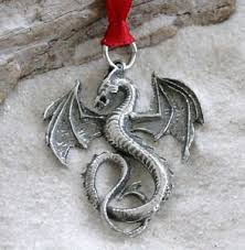 Amazon.com: Pewter Dragon Gothic Fantasy Christmas Ornament and ...