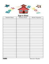 Back To School Sign In Sheet Template. Sign In Sheet For Open House ...