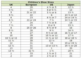 Uk Shoe Size Chart Child Clothing Size Conversion Charts For Shopping Abroad