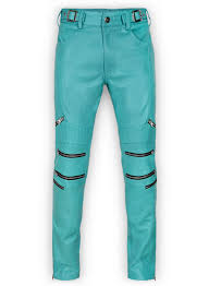 bright blue electric zipper mono leather pants loading zoom