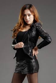 black motorcycle design women short leather jacket womens