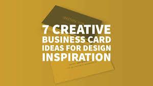Logo Design Ideas For Business Cards 7 Creative Business Card Ideas For Design Inspiration