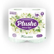 """Туалетная бумага <b>Plushe</b> Deluxe Light """"Жасмин"""", 4 рул, 3 слоя (х12)"""