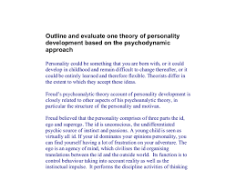 outline and evaluate one theory of personality development based  document image preview