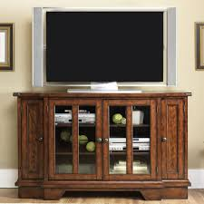 Compact White Painted Oak Wood Media Cabinet With Lighted Shelves ...