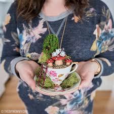 fairy garden in a thrifted teacup