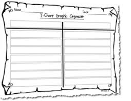 Differentiated T Chart Graphic Organizer Template Horizontal Version