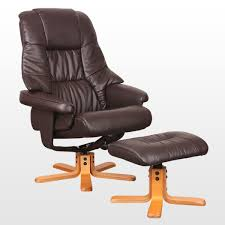 new real leather swivel recliner chair w foot stool leather swivel recliner chair and stool
