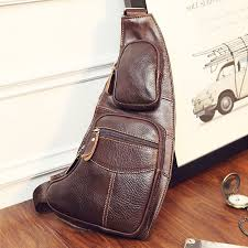 <b>High Quality Men</b> Genuine Leather Cowhide <b>Vintage</b> Sling Chest ...