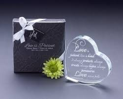 heart shaped laser etched crystal gift