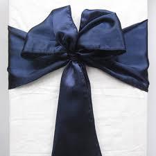 free navy blue satin chair sash for wedding party banquet decoration 1pcs satin