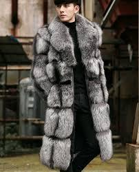 Designer Fur Jacket Men Real Fur Coat Jacket Mens Silver Fox Fur Coat 350