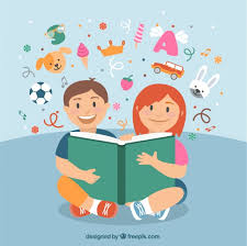 happy children reading a book free vector