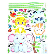 Animals Height Chart Non Toxic Removable Wall Stickers Kids Nursery Elephant Leopard Sticker Decor