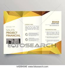 Trifold Brochure Design With Abstract Geometric Polygonal