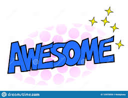 Awesome Sticker Design Awesome Comic Word Sticker Illustration Stock Photo