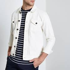 river island only sons denim jacket mens white 3oodmkbdnz