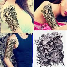 Dočasné Tetování Lebka Karty Růže Hodinky