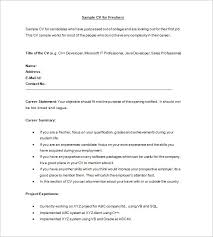 Sample CV Format For Freshers