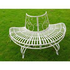 white iron garden furniture. Half Round Metal Tree Seat - Garden Bench White Iron Furniture