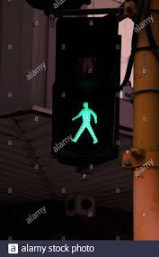 Walking Sign Light Industrial Traffic Green Light Walking Sign Stock Photo