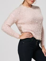 Fuzzy Light Pink Sweater Faux Pearl Embellished Knit Fuzzy Sweater
