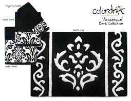 black and white bath rug arabesque bath collection assorted towels rugs black white damask black and