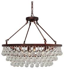 celeste glass drop crystal chandelier oil rubbed bronze finish small