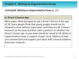 chapter writing an argumentative essay writing companion chapter 2 writing an argumentative essay 9 10 writing companion acirccopy perfection learning acircreg reproduction