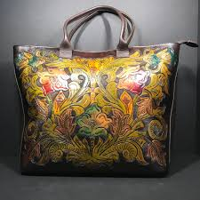 hand tooled tote hand painted tote genuine leather tote carved purse leather tote tooled leather tote