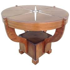 art deco mixed woods round occasional table for