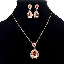 vintage jewelry set chain rhinestone water drop pendant necklace earrings ethnic jewelry for women whole newchic