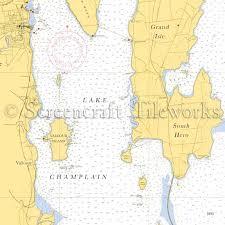 Vermont Valcour Island South Hero Lake Champlain Ny Nautical Chart Decor