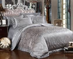 silver comforter set king pink jade satin silk jacquard bedding quilt 16