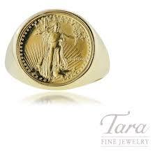 14k yellow gold gents coin ring with 1 10 oz american eagle coin tara fine jewelry