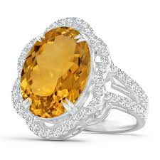 GIA Certified Oval <b>Citrine</b> Scalloped Halo Ring