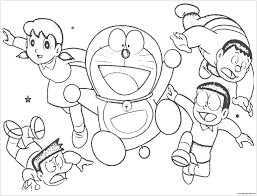 Printable and coloring pages of doraemon. Cheerful Doraemon With His Friends Coloring Pages Doraemon Coloring Pages Free Printable Coloring Pages Online
