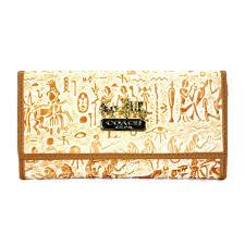 Coach Egyptian Wall Painting Large Khaki Wallets EEB