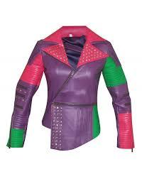 details about descendants dove cameron multicolor silver studded brando leather jacket