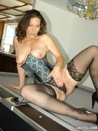 Mature Shaved Melissa Monet with Saggy Tits Wearing Black.