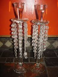 PAIR OF SHANNON CRYSTAL CANDLE HOLDERS WITH GLASS PRISMS - DESIGNS OF  IRELAND