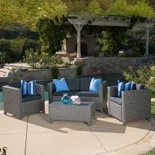 christopher knight home puerta grey outdoor wicker sofa set. Puerta Outdoor 4-piece Sofa Set By Christopher Knight Home | Overstock.com Shopping - The Best Deals On Sofas, Chairs \u0026 Sectionals Grey Wicker E