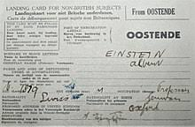 albert einstein  albert einstein s landing card 26 1933 when he landed in dover united kingdom from ostende to oxford