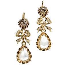 antique victorian chandelier earrings with big pear shaped rose cut diamonds image 3 of 5