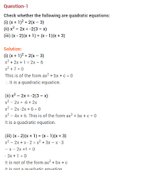 ncert solutions for class 10 maths chapter 4 quadratic equations cbse class 10 maths quadratic equations exercise 4 1