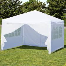 best choice s 10x10ft portable lightweight pop up canopy tent w side walls and carrying bag white silver com