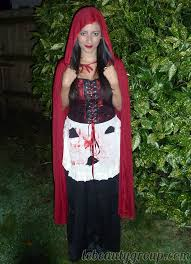 costume little red riding hood makeup nails and outfit