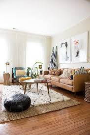 bohemian living room furniture. bohemian living space with a camel leather sofa and shag rug room furniture o