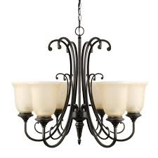 beverly 6 light oil rubbed bronze chandelier with amber glass shade