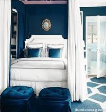 Beautiful Love This Dark, Peacock Blue Bedroom. Looks Great With Gold Wall Decor,  White
